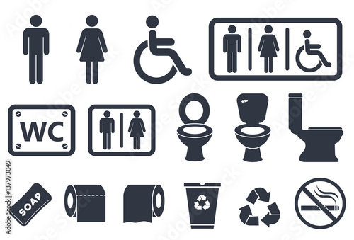 Fotomural  toilet vector icons set, male or female restroom wc