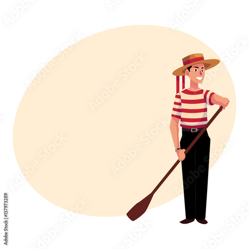 Fotografie, Tablou Full length portrait of young Italian, Venetian gondolier in typical clothes, cartoon vector illustration with place for text