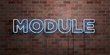 MODULE - Fluorescent Neon Tube Sign On Brickwork - Front View - 3D Rendered Royalty Free Stock Picture. Can Be Used For Online Banner Ads And Direct Mailers..