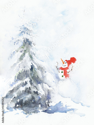 Snowman And Christmas Tree Watercolor Painting Greeting Card Buy