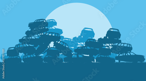 Photo  Cars in salvage junkyard in evening with sunset vector