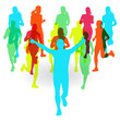 Running marathon people group vector illustration