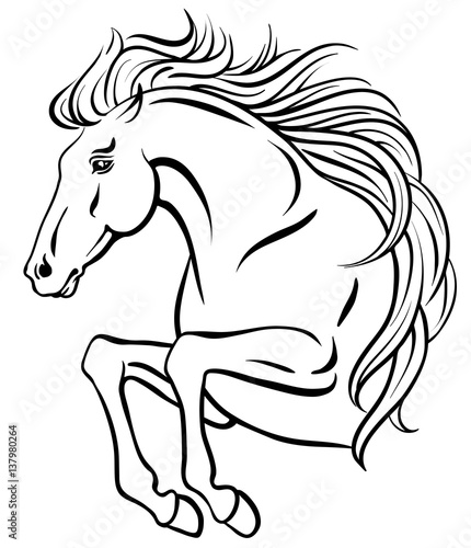 Outline Clip Art Of Jumping Horse With Long Mane