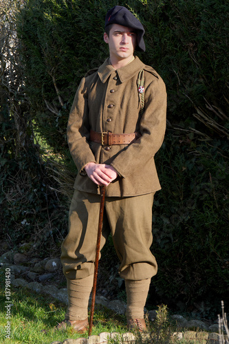 Poster  French soldier in 1940's uniform