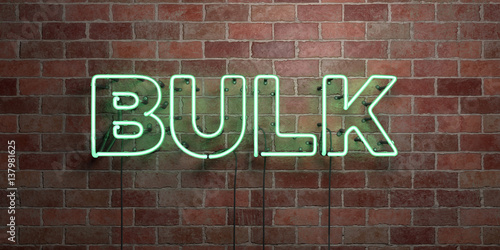 Fotografie, Obraz  BULK - fluorescent Neon tube Sign on brickwork - Front view - 3D rendered royalty free stock picture