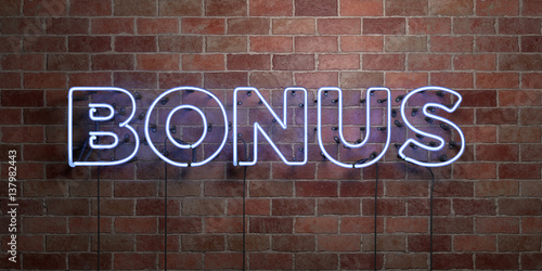 Fototapeta BONUS - fluorescent Neon tube Sign on brickwork - Front view - 3D rendered royalty free stock picture. Can be used for online banner ads and direct mailers.. obraz