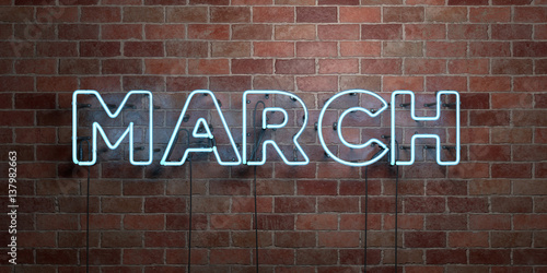 Cuadros en Lienzo MARCH - fluorescent Neon tube Sign on brickwork - Front view - 3D rendered royalty free stock picture