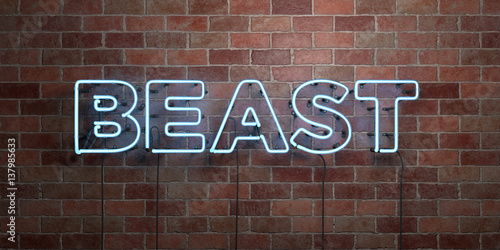 Photo  BEAST - fluorescent Neon tube Sign on brickwork - Front view - 3D rendered royalty free stock picture