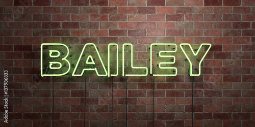 Photo  BAILEY - fluorescent Neon tube Sign on brickwork - Front view - 3D rendered royalty free stock picture