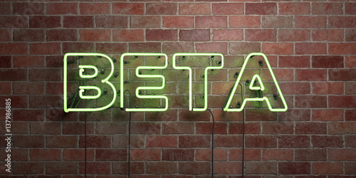 BETA - fluorescent Neon tube Sign on brickwork - Front view - 3D rendered royalty free stock picture Canvas Print