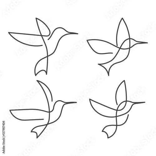 Continuous line bird White one line drawing