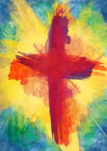 Red Cross On Bursting Light Rays Background, Abstract Christian Easter Illustration