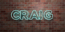 CRAIG - Fluorescent Neon Tube Sign On Brickwork - Front View - 3D Rendered Royalty Free Stock Picture. Can Be Used For Online Banner Ads And Direct Mailers..