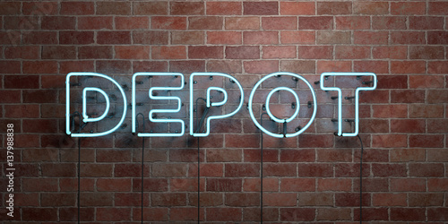 Fotografía  DEPOT - fluorescent Neon tube Sign on brickwork - Front view - 3D rendered royalty free stock picture