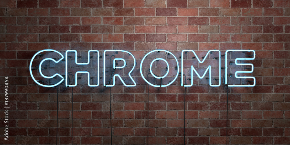 Photo & Art Print CHROME - fluorescent Neon tube Sign on