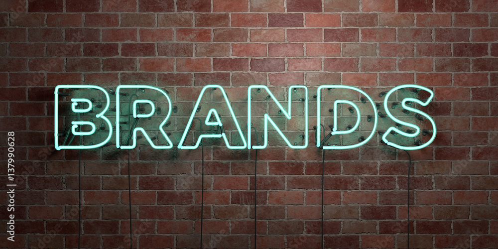 Fototapeta BRANDS - fluorescent Neon tube Sign on brickwork - Front view - 3D rendered royalty free stock picture. Can be used for online banner ads and direct mailers..