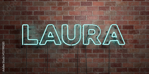 LAURA - fluorescent Neon tube Sign on brickwork - Front view - 3D rendered royalty free stock picture Wallpaper Mural