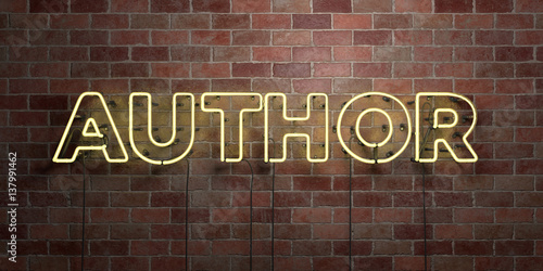 Fototapeta AUTHOR - fluorescent Neon tube Sign on brickwork - Front view - 3D rendered royalty free stock picture. Can be used for online banner ads and direct mailers.. obraz