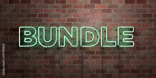 Photo BUNDLE - fluorescent Neon tube Sign on brickwork - Front view - 3D rendered royalty free stock picture