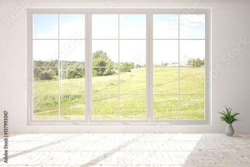 Poster Blanc White empty room with green landscape in window. Scandinavian interior design