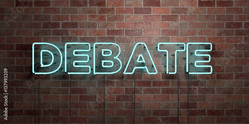 Cuadros en Lienzo  DEBATE - fluorescent Neon tube Sign on brickwork - Front view - 3D rendered royalty free stock picture