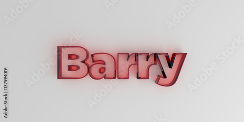 Papel de parede  Barry - Red glass text on white background - 3D rendered royalty free stock image