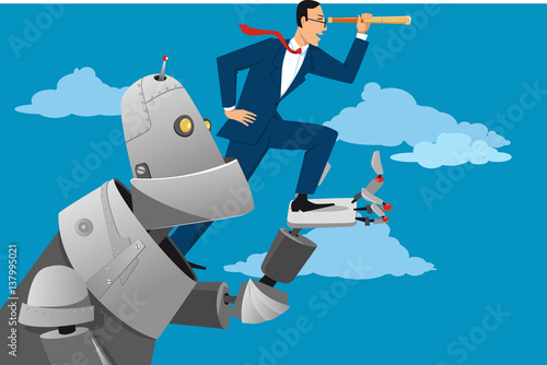 Foto  Giant robot holding a businessman with a telescope, helping him to look further