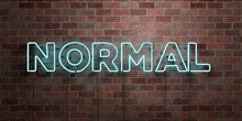 NORMAL - Fluorescent Neon Tube Sign On Brickwork - Front View - 3D Rendered Royalty Free Stock Picture. Can Be Used For Online Banner Ads And Direct Mailers..
