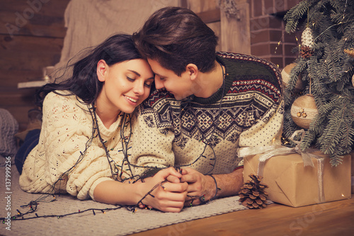 Beautiful Brunette Caucasian Romantic Loving Couple In Cozy Warm