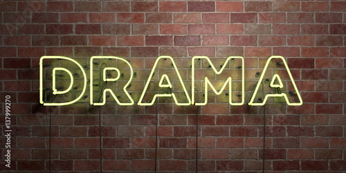 Photo  DRAMA - fluorescent Neon tube Sign on brickwork - Front view - 3D rendered royalty free stock picture