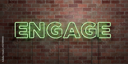 Obraz na plátně  ENGAGE - fluorescent Neon tube Sign on brickwork - Front view - 3D rendered royalty free stock picture