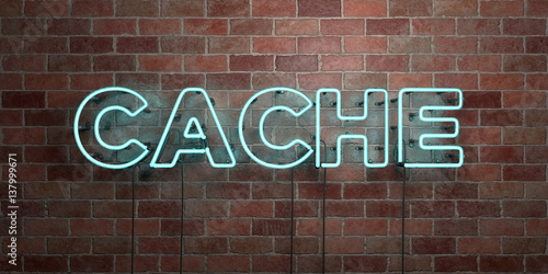 Fotografía  CACHE - fluorescent Neon tube Sign on brickwork - Front view - 3D rendered royalty free stock picture