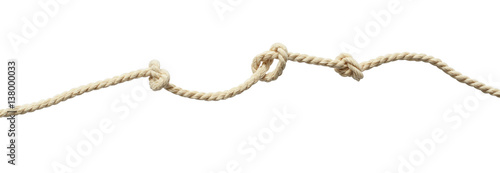 Obraz Beige cotton rope with knots - fototapety do salonu
