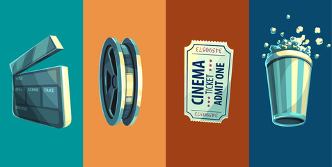 Vintage retro icon of cinem...