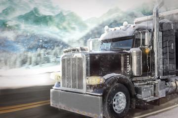 Ciężarówka w zimowym krajobrazie