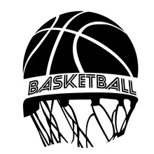 Isolated Basketball Emblem With A Ball And A Net, Vector Illustration