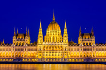 Night View On The Parliament Building In Budapest