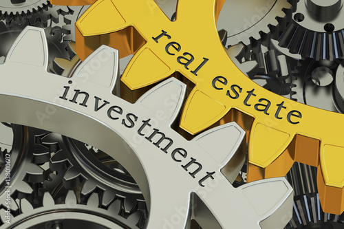 Fotografía  real estate investment concept on the gearwheels, 3D rendering