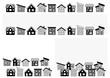 シンプルな家の並び(モノクロ)