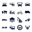 Set of 16 vehicle filled icons