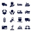 Set of 16 shipping filled icons