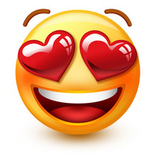 """Cute """"in Love""""-face Emoticon Or 3d Smiley Emoji With Heart-shaped Eyes That Shows Love Or Approvation Towards A Person Or A Thing."""