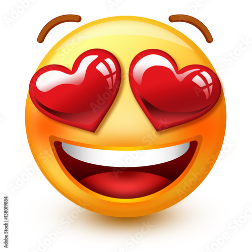 "Cute ""in love""-face emoticon or 3d smiley emoji with heart-shaped"