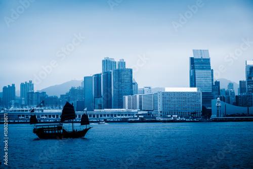 Photo  panoramic view of victoria harbor in Hong Kong,China.