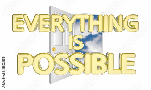Valokuva  Everything is Possible Door Opening Unlimited Possibility Potential 3d Illustrat