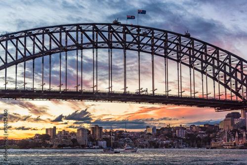 Staande foto Sydney Australian iconic landmark Sydney Harbour Bridge against picturesque sunset sky