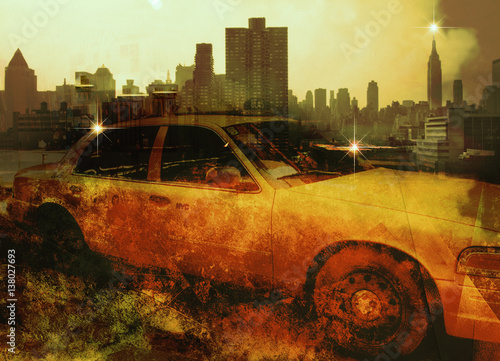 Tuinposter New York TAXI NYC Composition