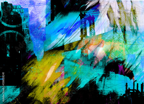 Poster Turquoise Manhattan bridge Abstract