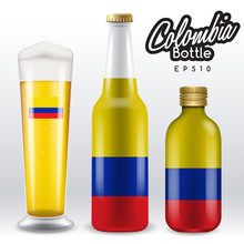 World Flag Wrapping On Beer Bottle : Colombia : Vector Illustration