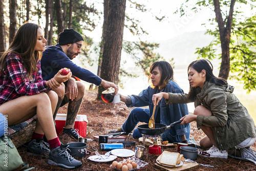 Poster Camping Friends Camping Eating Food Concept